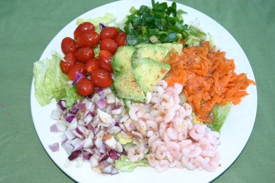 Shrimp and Avocado Green Salad with Italian Vinaigrette | Simple ...